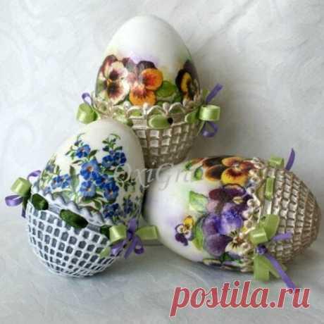 Декупаж пасхальных яиц   Домашний hand-made