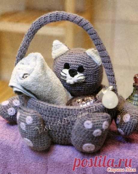 Кот - корзинка (крючком) - Страна Мам