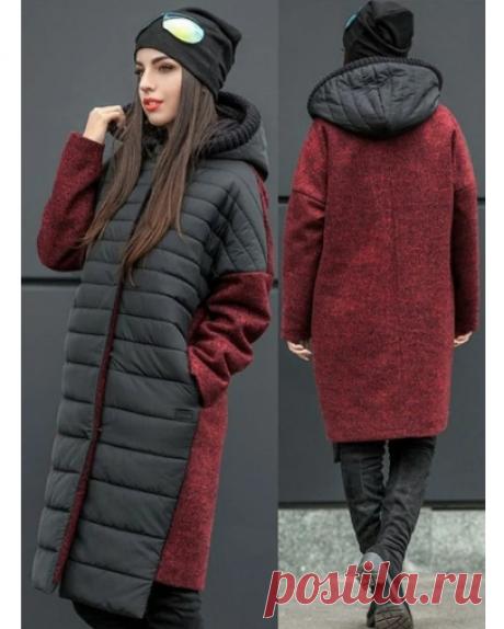 Выкройка модного комбинированного пальто Модная одежда и дизайн интерьера своими руками
