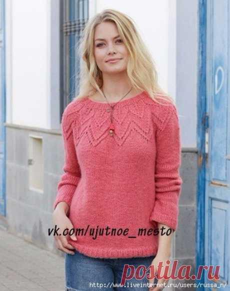 "Пуловер с круглой кокеткой ""Aftensol"" by DROPS Design."
