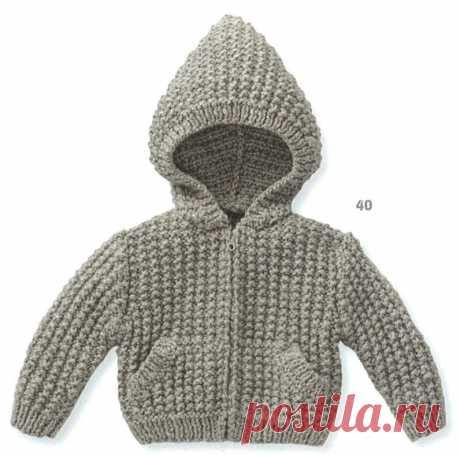 Вязаная для малышей кофточка с объемным, добавляющим тепло полотну, узором (спицы)