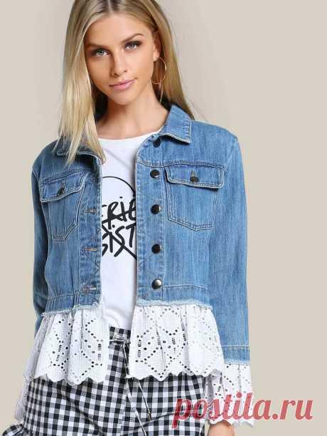 Lace Applique Denim Jacket DENIM | SHEIN USA