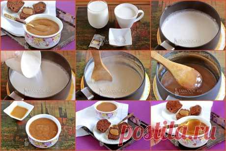 ДУЛЬСЕ ДЕ ЛЕЧЕ  Карамельно-молочный вкус Дульсе де лече чем-то напоминает сгущёнку. Можно подавать его как десерт или добавку к блинам, пропитывать выпечку. Молоко 3.2% - 500 мл  Сахар - 125 г  Сода - 2 г  Ваниль - 1 стручок