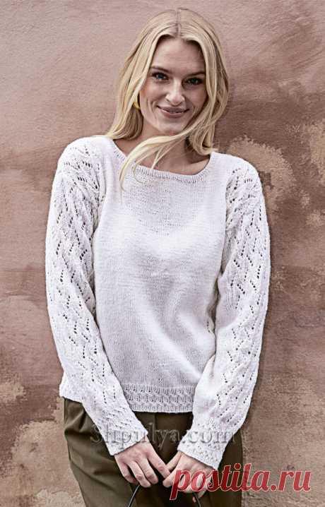 Белый пуловер с ажурными рукавами — Shpulya.com - схемы с описанием для вязания спицами и крючком