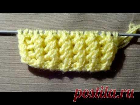 Узор для вязания спицами Канадская Резинка (для начинающих)