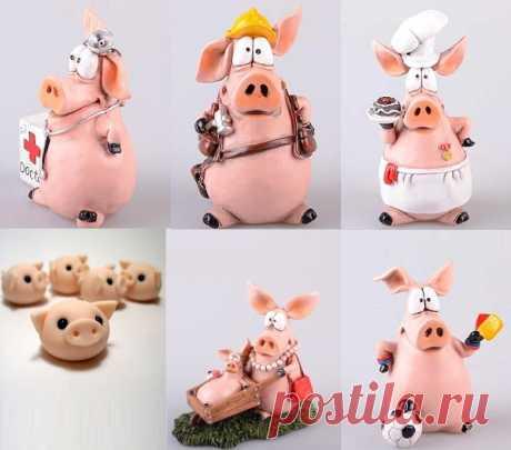 Поросенок из пластилина и свинки из мастики, пошаговые инструкции, фото идеи для лепки   БебиКлад