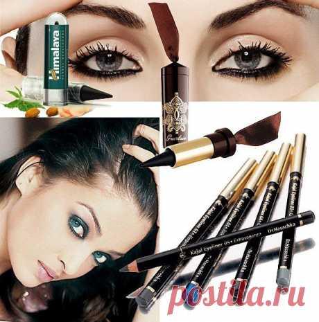 Эффектный макияж с помощью кайала для глаз.