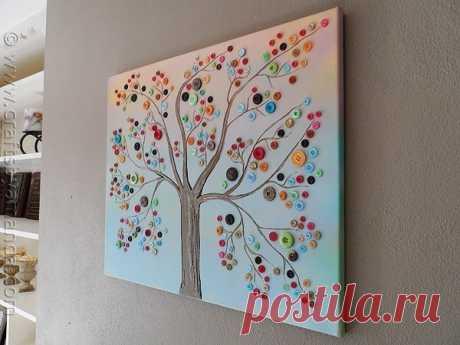 Панно Дерево с пуговицами