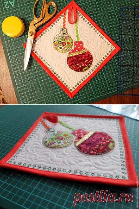 Идея использования маленьких обрезков: шьем новогоднюю прихватку - Ярмарка Мастеров - ручная работа, handmade