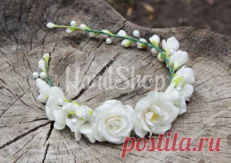 (1) Ободок с цветами White   Handshop   Венки