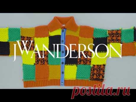 JW Anderson | Official 'Harry Styles' Cardigan Knitting Tutorial The size is a unit size for men :  Total length 60 cm, total width 84 cm, sleeve length 48 cm