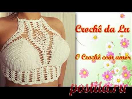 Top-cropped de Crochê, com ponto Abacaxi