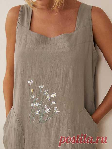 Цветочная Вышивка Карманное Платье Женщины Домашнее Садовое Платье - NewChic