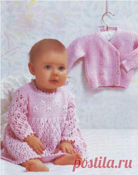 Ажурное платье с вышивкой, жакет | Вязание спицами и крючком – Азбука вязания