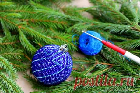 Вяжем крючком елочный шарик из бисера | Журнал Ярмарки Мастеров