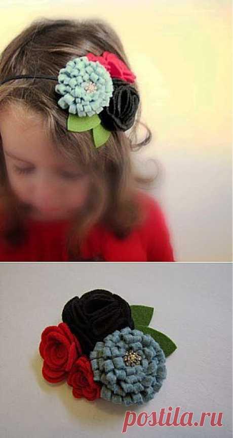 Лента для волос с войлочными цветами   Самоделкино