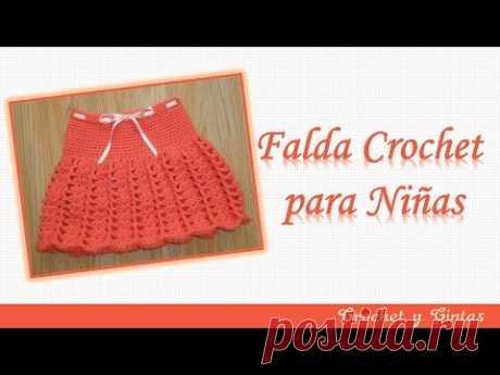 3572a8c0a3 Falda para niña tejida a crochet (ganchillo) con abanicos y punto relieve -  YouTube