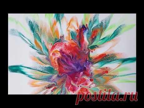 (72) Acrylic Pouring _ The flower dip technique_ Designer Gemma77