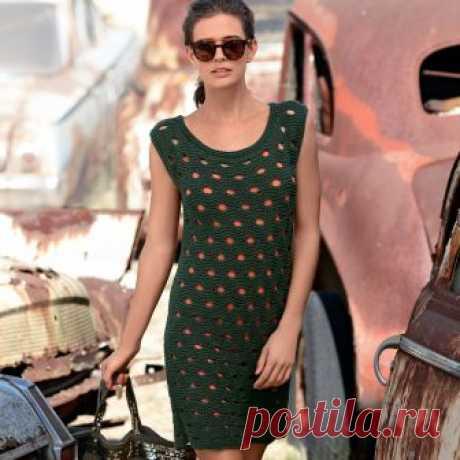 Платье со сквозным узором - схема вязания спицами. Вяжем Платья на Verena.ru