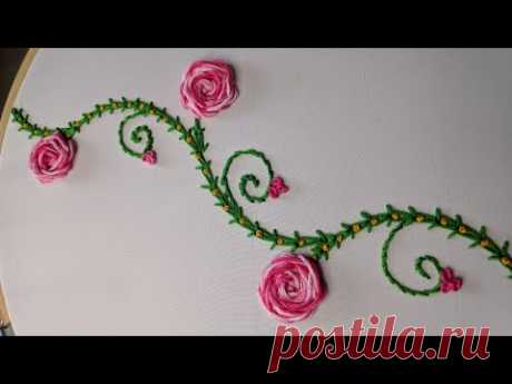 Hand Embroidery: Rose flower Border line tutorial.Hand Embroidery:Border line for Saree/Dress/Duptta