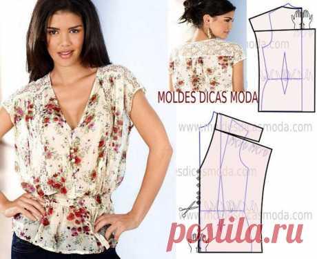 Блузка свободного силуэта с кокеткой - моделирование. #простыевыкройки #простыевещи #шитье #блузка #моделирование