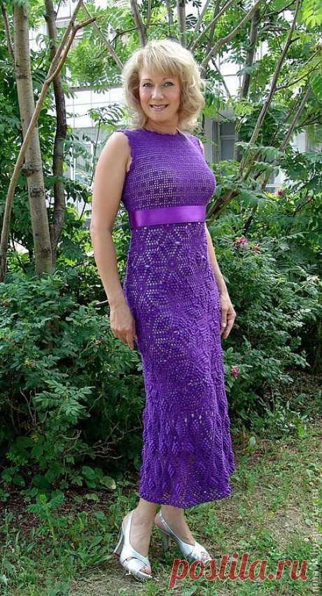 """Платье """"Фиолетовый луч"""" - вязаное платье,вязаное платье крючком,платье вязаное"""