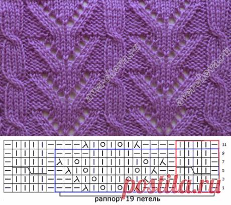 узор 163 ажурные полосы с косами | каталог вязаных спицами узоров
