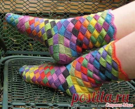 Вязаные носки в стиле пэчворк. Супер! 3 варианта