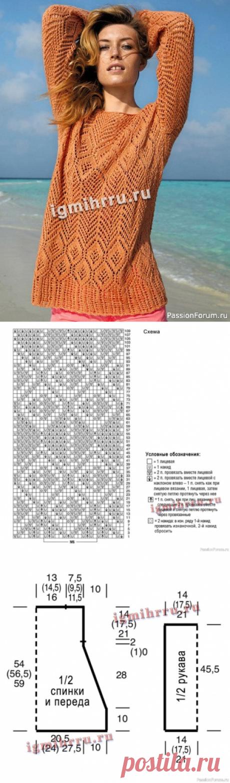Ажурный пуловер спицами   Вязание для женщин спицами. Схемы вязания спицами