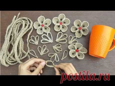 DIY Best Reuse Ideas With Burlap And Plastic Mug || Best Out of Waste Jute Flower With Vase Craft