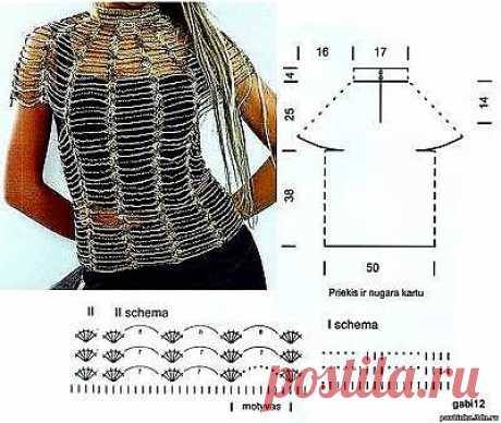 Схема вязания крючком блузки паутинка - Схемы вязания кофты - Схемы для вязания - Уроки вязания крючком - Вязание крючком, мотивы, схемы для вязания крючком