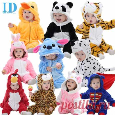 Осень зима детская одежда фланель мальчик одежда мультфильм животных комбинезон девочка комбинезон детская одежда XYZ15088 купить на AliExpress