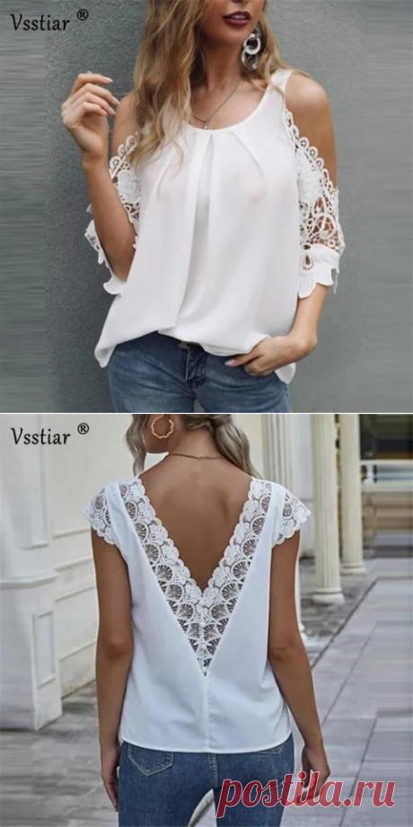 Блузка женская с открытыми плечами и рукавом до локтя,  кружевная с открытыми плечами и V образным вырезом,