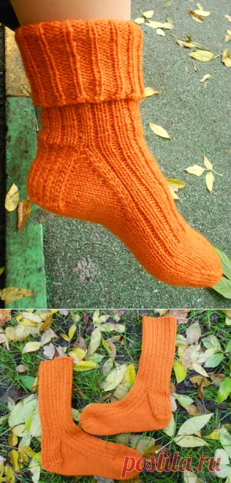 104 носка, пара 4 – оранжевые носки резинкой 2х1 | Хорошо.Громко.