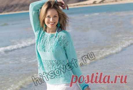 Вязаный летний джемпер - Хитсовет Вязание спицами из хлопка для женщин летнего пуловера в морском стиле со схемой и подробным бесплатным описанием.
