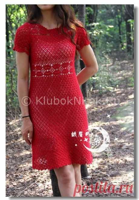 Красное платье крючком | Вязание для женщин | Вязание спицами и крючком. Схемы вязания.