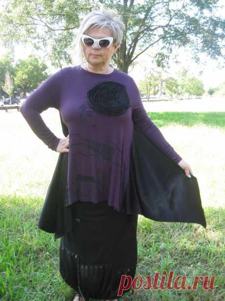 Asymmetrical Purple/Black long Tunic   Etsy