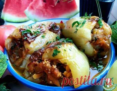 Печеные перцы, фаршированные баклажанами – кулинарный рецепт