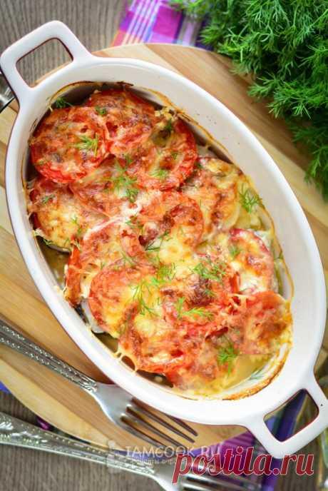 """Стандартное блюдо """"по-французски"""", только вместо мяса будут стейки рыбы (у меня - хек). Без картошки. Получается сочно и ароматно! #рыба #еда #обед #ужин #рецепт"""