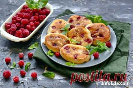 Пышные оладьи на йогурте с целой малиной: пошаговый рецепт приготовления | InfoEda.com