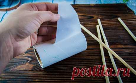 Втулка от бумаги или клеевой ролик + палочки для суши. Делаем мини-станок для необычного вязания | Живые вещи | Яндекс Дзен