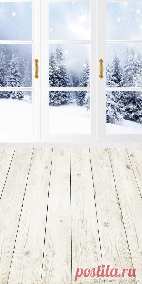 Фотофон Зима окно 50х100 см для сьёмки