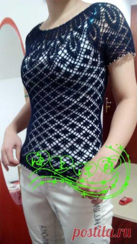 Блуза крючком с ажурной кокеткой. Круглая ажурная кокетка крючком |