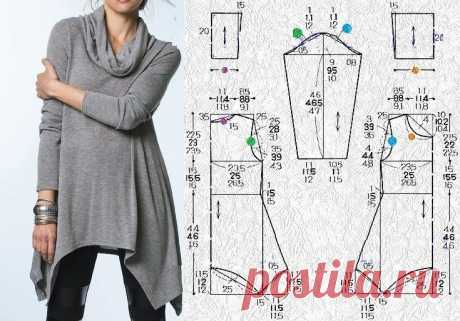 Выкройка зимней туники Модная одежда и дизайн интерьера своими руками