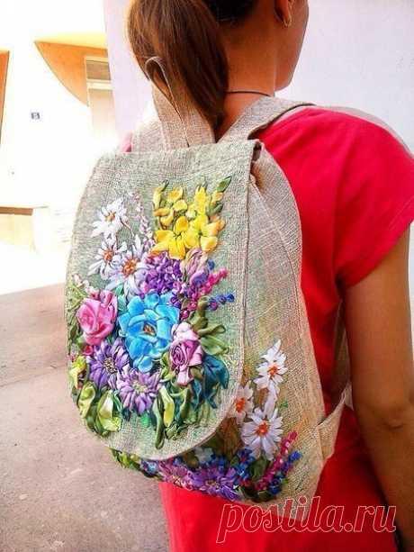 Вышивка лентами на сумках: идеи для вдохновения — DIYIdeas
