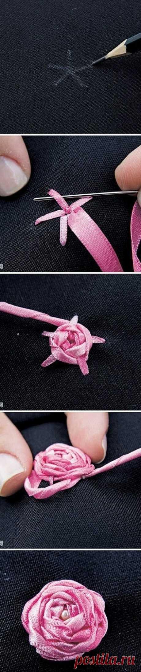 Как делаются розы из ленточек / Для детей / Модный сайт о стильной переделке одежды и интерьера