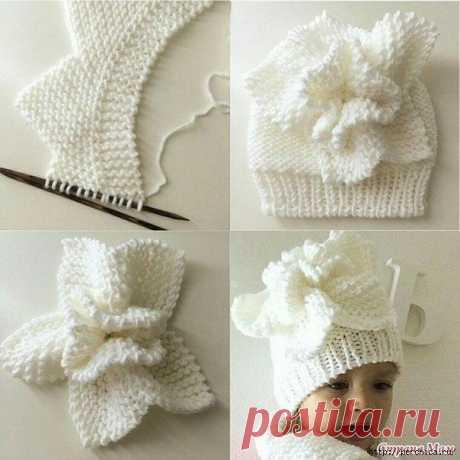 Вяжем эффектный цветок — украшение для шапочки спицами - Вязание крючком и спицами - медиаплатформа МирТесен