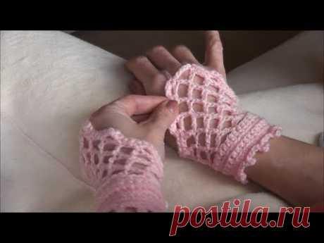 Crochet Romantic Gloves - English