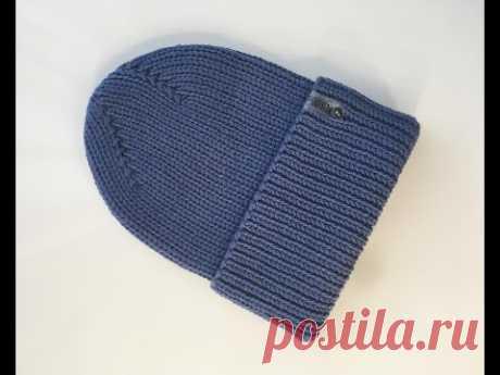 Мужская шапка с отворотом с интересной диагональной макушкой из 100% мериносовой шерсти.