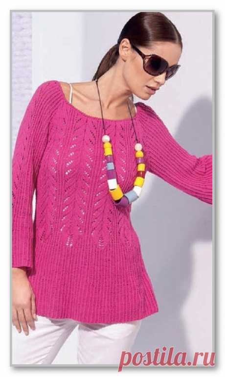 Tunic with sleeves a raglan of a bright coloring. Knitting by spokes